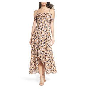 THML floral linen maxi dress size XS